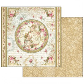 Papier scrapbooking réversible anges et roses 30x30