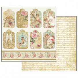 Papier scrapbooking réversible anges étiquettes