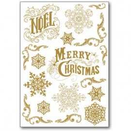 Transfert Rub-on adhésif doré Noël