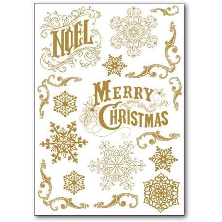 Transfert Rub-on doré Noël