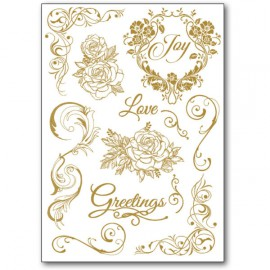 Transfert Rub-on adhésif amour fleurs blanc