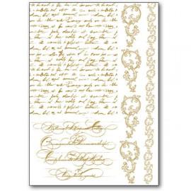 Transfert Rub-on adhésif doré écriture manuscrite
