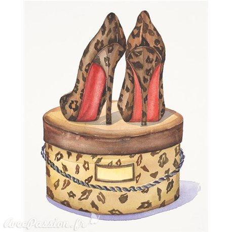 Carte d'art chaussures à talon leopard Jin Jing