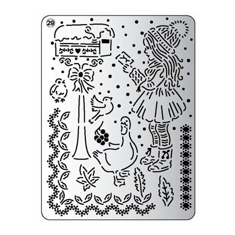 Pergamano mini grille embossage ciselage 29 fille d'hiver 71029