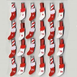 Pinces à linge calendrier de l'avent rouge