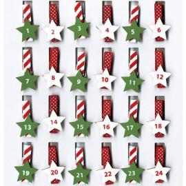 Pinces à linge calendrier de l'avent rouge vert