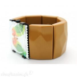 Bracelet élastique de montre Stamps belta caramel sculpté