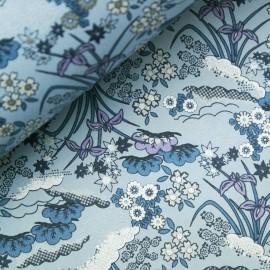 Papier japonais washi plantes et fleurs fond bleu