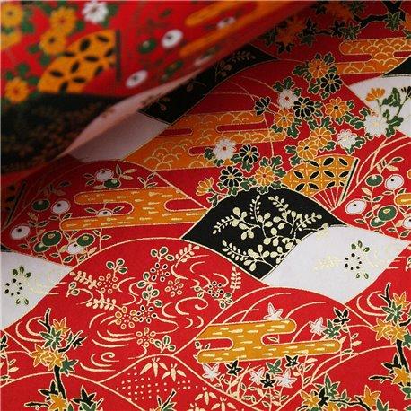 Papier japonais washi ondulation rouge