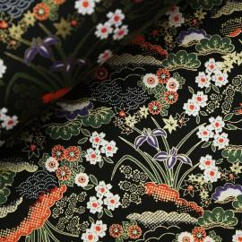 Papier japonais washi plantes et fleurs fond noir