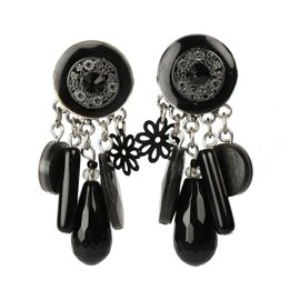 Boucles d'oreilles Clairébelle clips noir estampe noir