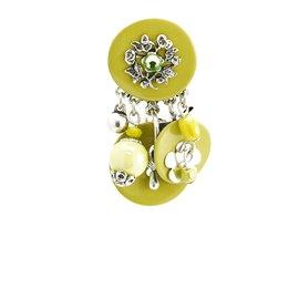 Boucles d'oreilles Clairébelle clips nacre vert anis et argent