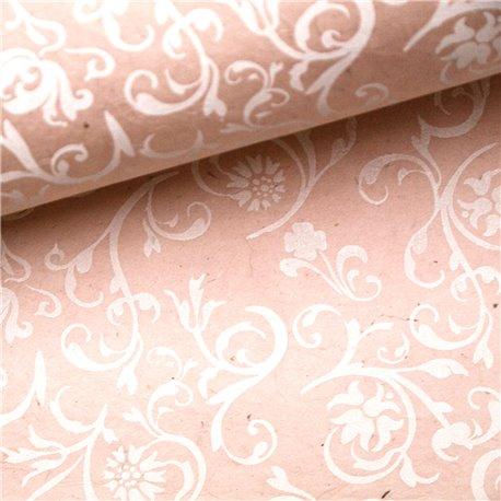 Papier fantaisie venezia rose arabesque blanche