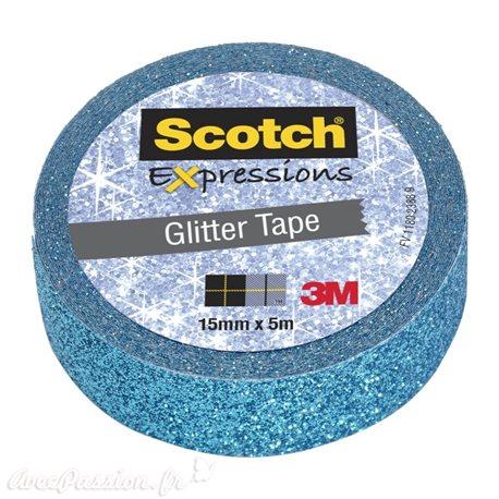 Masking tape glitter paillette bleu