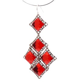 Boucles d'oreilles pendantes percées rouge siam Kenny Ma -