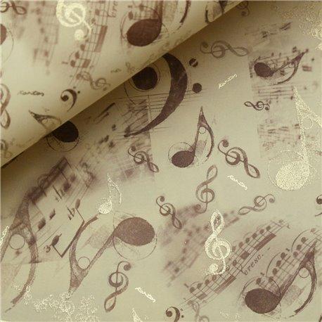 Papier italien motifs notes de musique crème marron doré