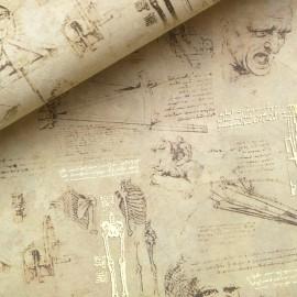 Papier italien motifs sciences crème