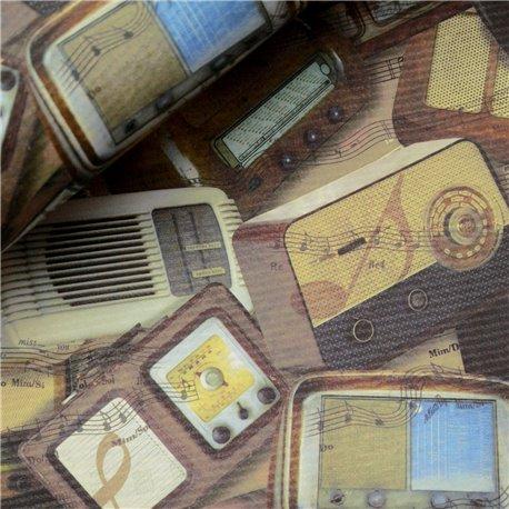 Papier italien motifs radios anciennes marron