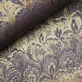 Papier italien motifs feuille de lys violet et doré