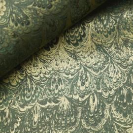 Papier italien motifs feuille de lys vert et doré