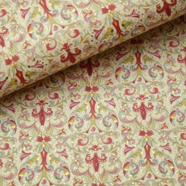 Papier italien motifs feuille d'acanthe rouge rose