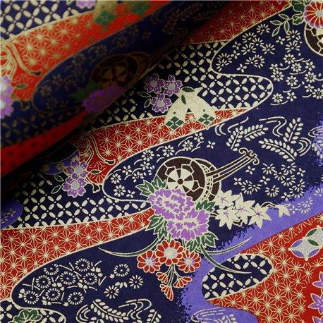 Papier japonais washi rivière orange fond bleu