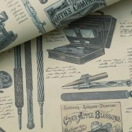 Papier italien motifs imprimerie jaune bleu