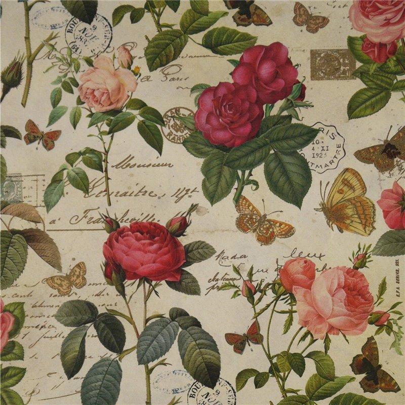 papier cartonnage papier italien motifs roses anciennes et papillons. Black Bedroom Furniture Sets. Home Design Ideas