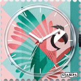 Montre Stamps cadran de montre pink parrot