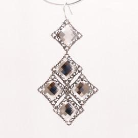 Boucles d'oreilles pendantes percées cristal métal argent Kenny Ma -