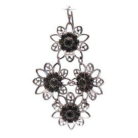 Boucles d'oreilles pendantes percées noir cristal strass Swaro Kenny Ma -