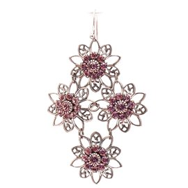 Boucles d'oreilles pendantes percées rose strass Swaro Kenny Ma -