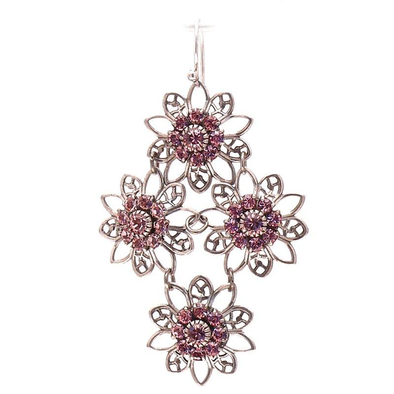 boucles d 39 oreilles pendantes perc es rose swarovski designs. Black Bedroom Furniture Sets. Home Design Ideas