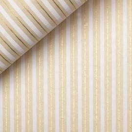 Papier indien lignes blanc doré sur crème