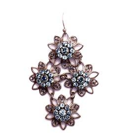 Boucles d'oreilles pendantes percées bleu azur et cristal Kenny Ma -