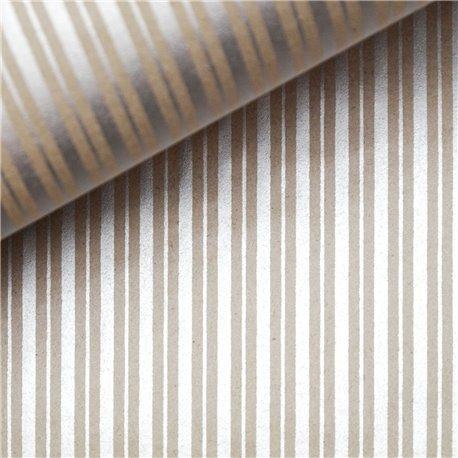 Papier indien lignes argent sur taupe