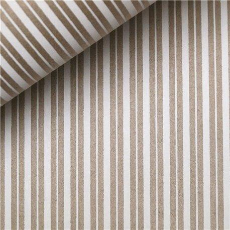 Papier indien lignes blanches sur taupe