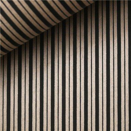 Papier indien lignes noires sur taupe