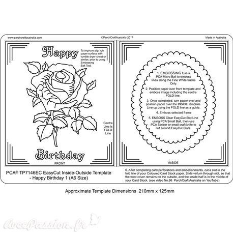Gabarit easycut PCA coupe le papier parchemin rose cadre ovale
