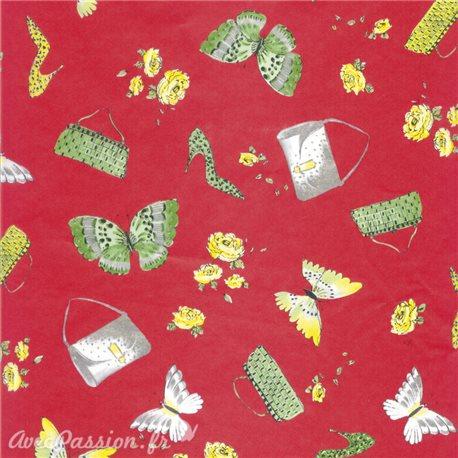 Feuilles décopatch fond rouge papillon chaussure sac