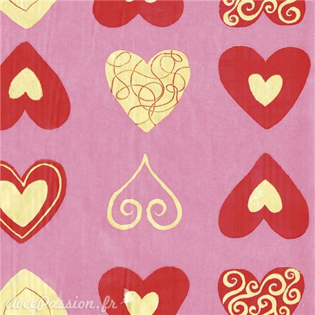 Feuilles décopatch fond rose coeur rouge et or