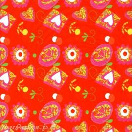 Feuille décopatch rouge pele mele de coeur et de fleurs