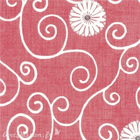 Feuille décopatch rouge calligraphie et fleur blanche