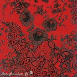 Feuilles décopatch rouge dentelle noir