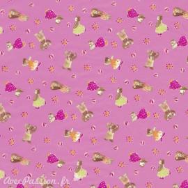 Feuilles décopatch fond rose petits oursons