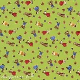 Feuilles décopatch fond vert petits ours