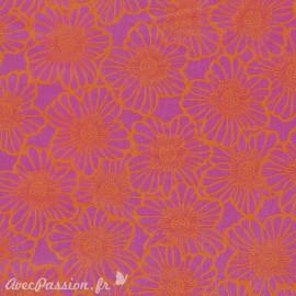 Feuille décopatch fleurs rose bordure orange