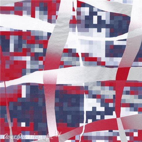 Feuilles décopatch petits carrés pixel bleu rose et rouge