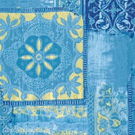 Feuille décopatch patchwork bleu