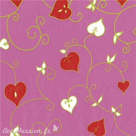 Feuilles décopatch rose coeur rouge et blanc